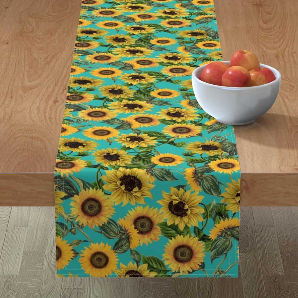"""Minorca Table Runner featuring 18"""" Vintage Sunflowers on Teal  sunflower fabric, sunflowers fabric  by utart"""
