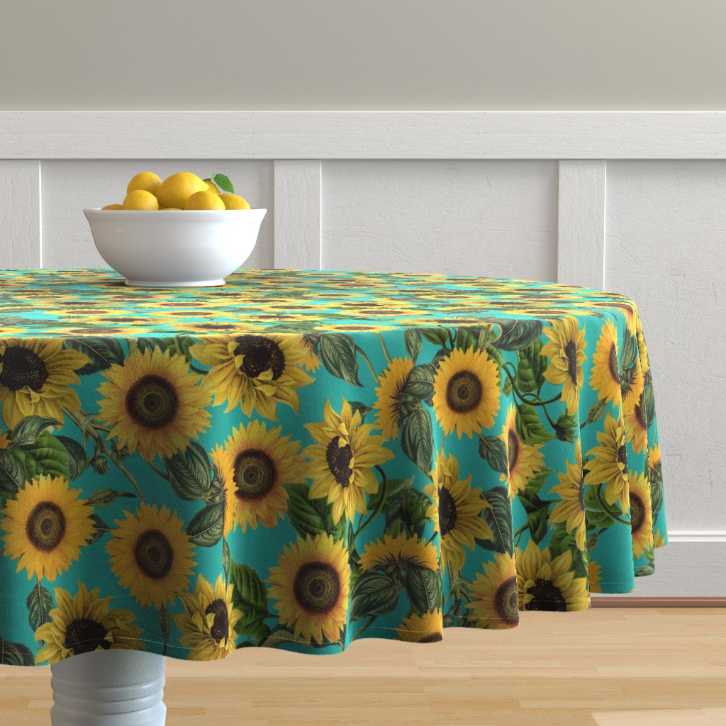 """Malay Round Tablecloth featuring 18"""" Vintage Sunflowers on Teal  sunflower fabric, sunflowers fabric  by utart"""