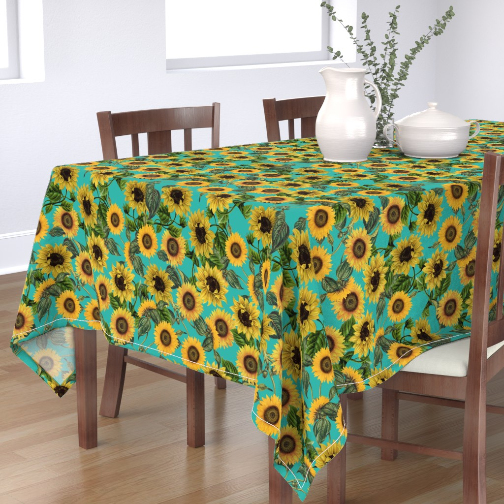 """Bantam Rectangular Tablecloth featuring 18"""" Vintage Sunflowers on Teal  sunflower fabric, sunflowers fabric  by utart"""