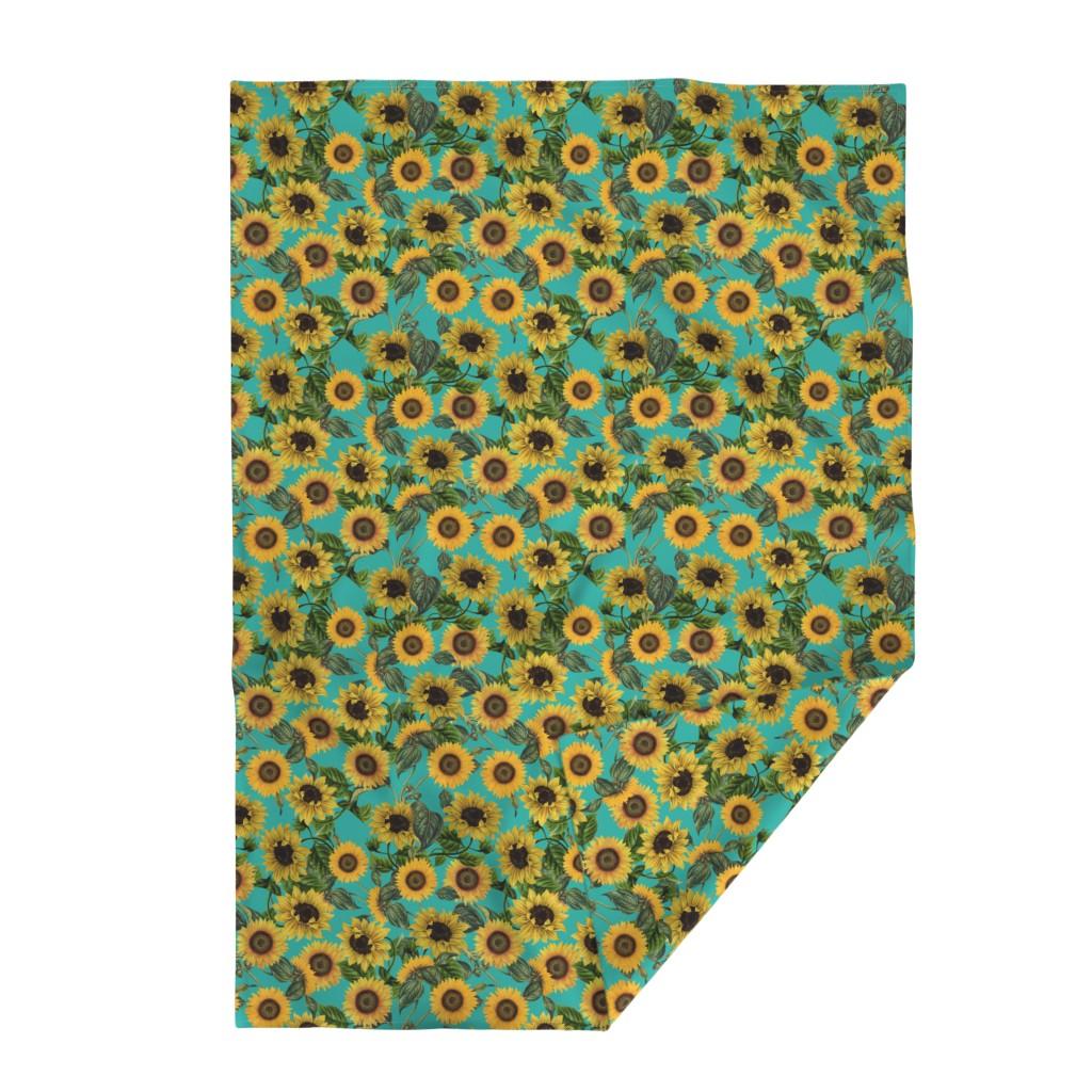 "Lakenvelder Throw Blanket featuring 18"" Vintage Sunflowers on Teal  sunflower fabric, sunflowers fabric  by utart"