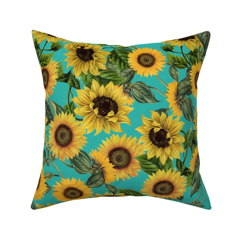 "Catalan Throw Pillow featuring 18"" Vintage Sunflowers on Teal  sunflower fabric, sunflowers fabric  by utart"