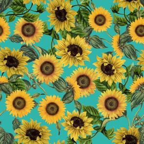 "18"" Vintage Sunflowers on Teal  sunflower fabric, sunflowers fabric"