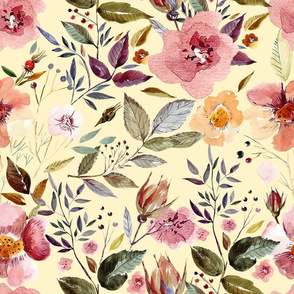 """18""""  Autumnal Watercolor Flowers"""
