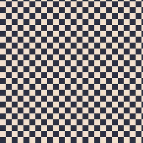 ★ CHECKER ★ Navy and White (Ecru) – 1/3 inch / Collection : On fire -Burning Prints