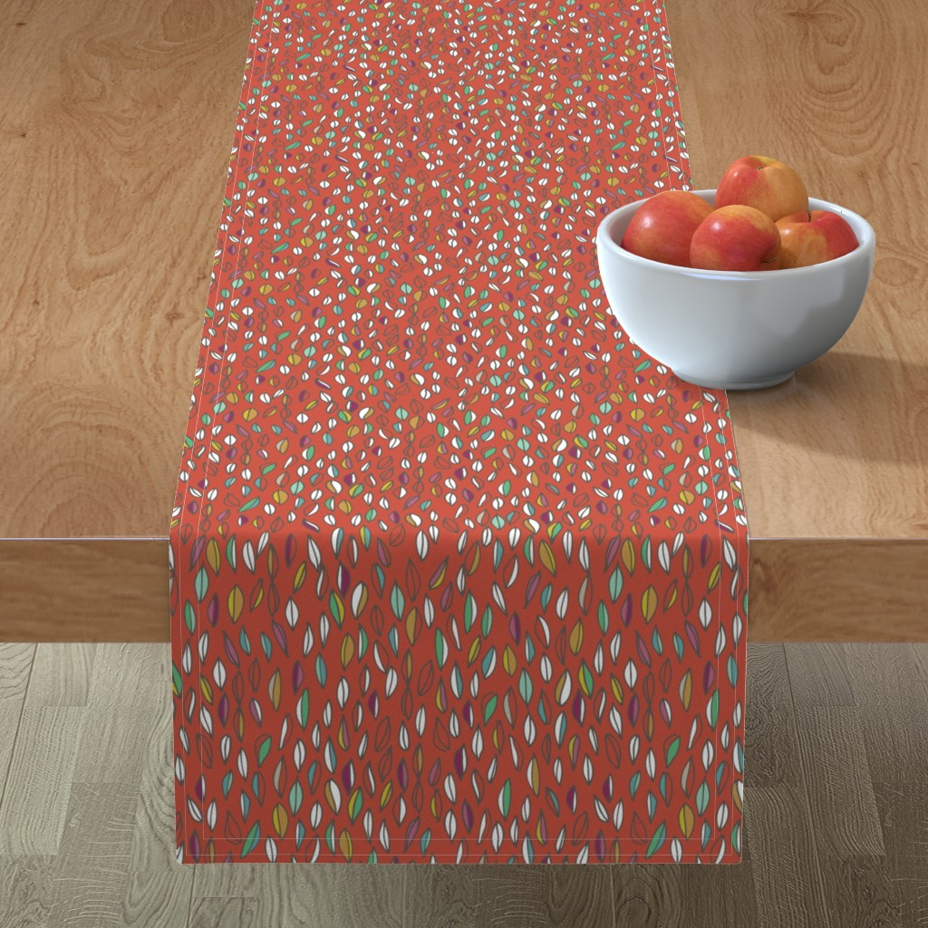 Minorca Table Runner featuring Harvest Leaves Rust by amy_springer