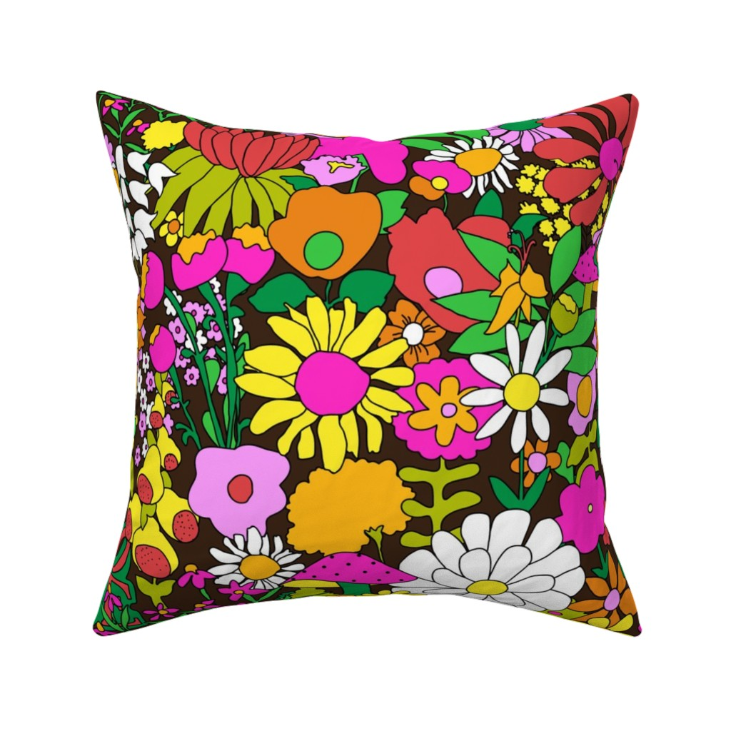 Catalan Throw Pillow featuring 60's Groovy Garden in Chocolate Brown by elliottdesignfactory