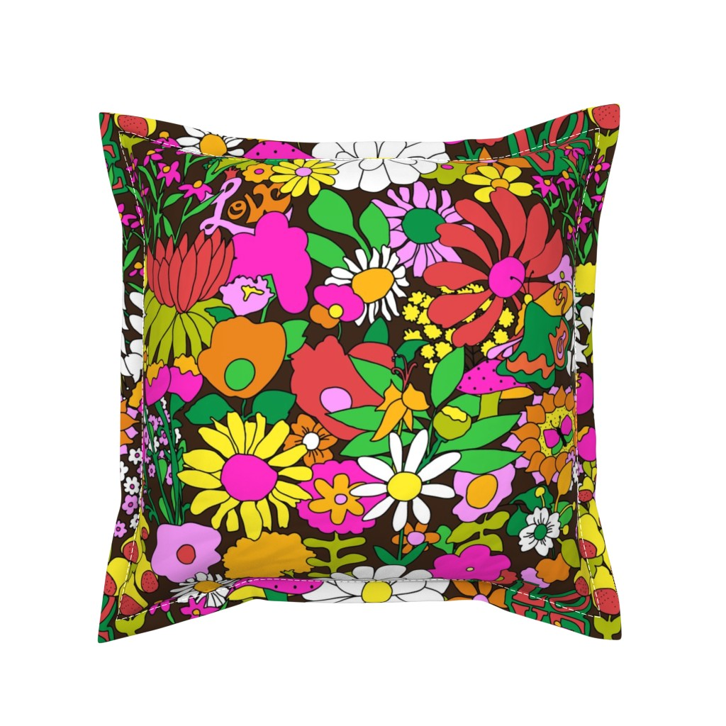 Serama Throw Pillow featuring 60's Groovy Garden in Chocolate Brown by elliottdesignfactory