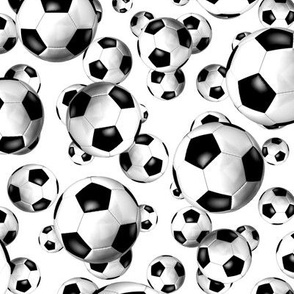 Black and white endless soccer balls pattern