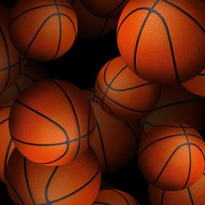 neverending 3D look basketballs on black
