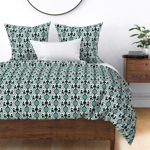 Black Cats In White Teal Diamond Spoonflower