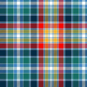 "Four Quarters tartan, 6"" retro circus colors"