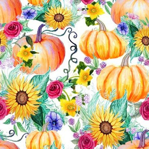 Thanksgiving pumpkin  and flowers in watercolor