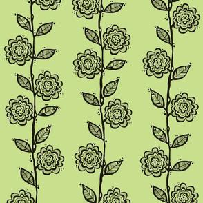 Vines - Black on Celery Green