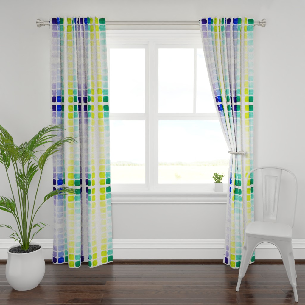 Plymouth Curtain Panel featuring squared gradients by rosemaryanndesigns