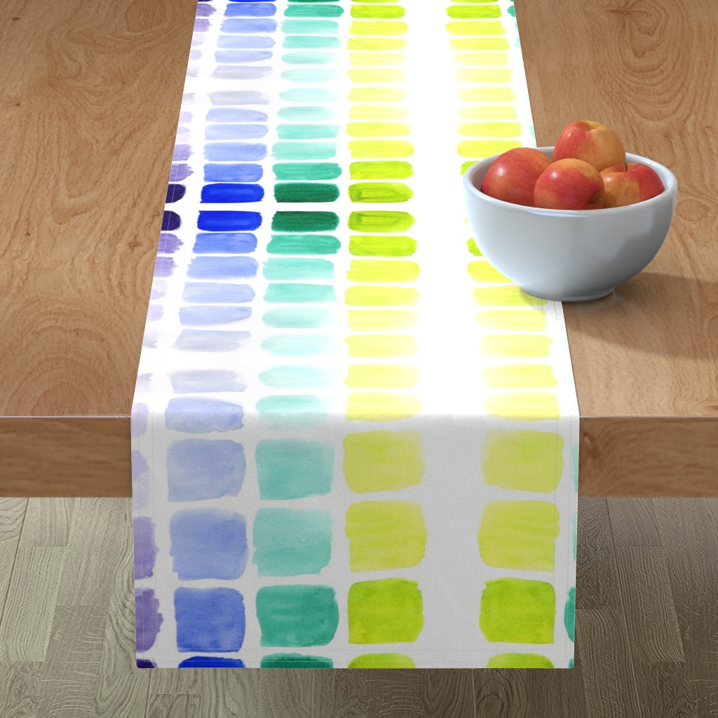 Minorca Table Runner featuring squared gradients by rosemaryanndesigns