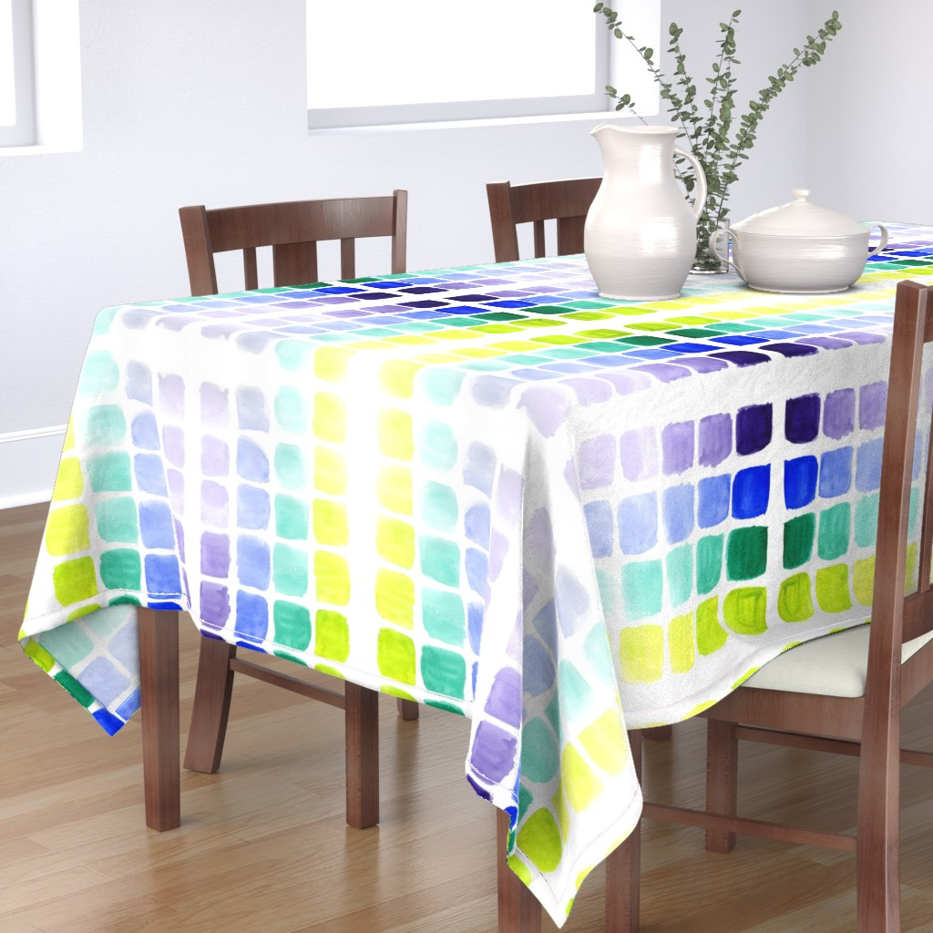 Bantam Rectangular Tablecloth featuring squared gradients by rosemaryanndesigns