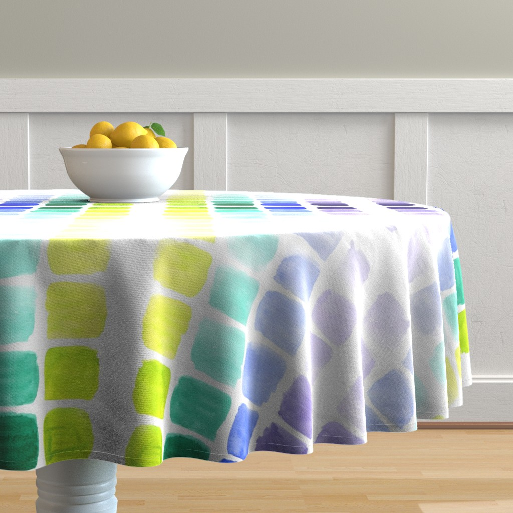 Malay Round Tablecloth featuring squared gradients by rosemaryanndesigns