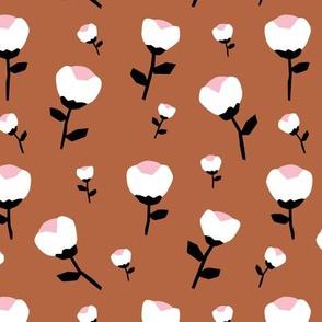 Paper cut cotton boll flower autumn bloom botanical garden theme copper pink girls