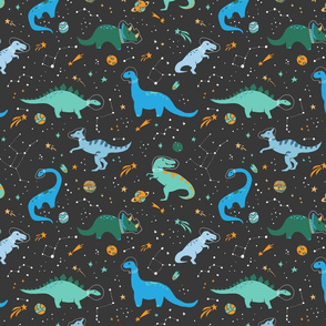 Dinosaurs in Space Blue + Teal Green