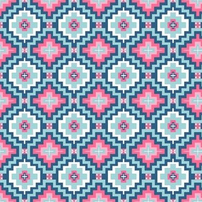 kilim pink and blue