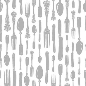 Antique Silver Vintage Silverware Stripe // Sing for Your Supper // Modern Farmhouse Collection
