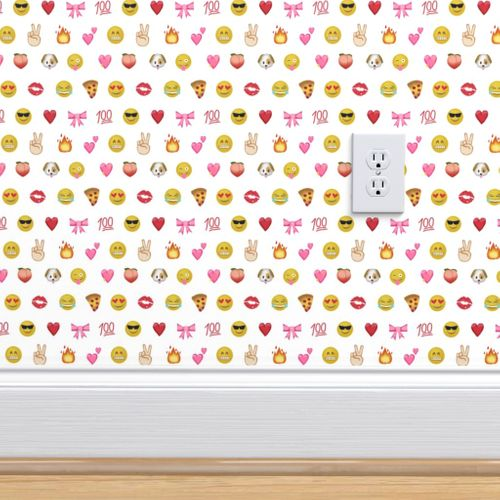 Wallpaper Emoji Social Media Dog Heart Love Thumbs Up Cute Happy Smiley Face Iphone White