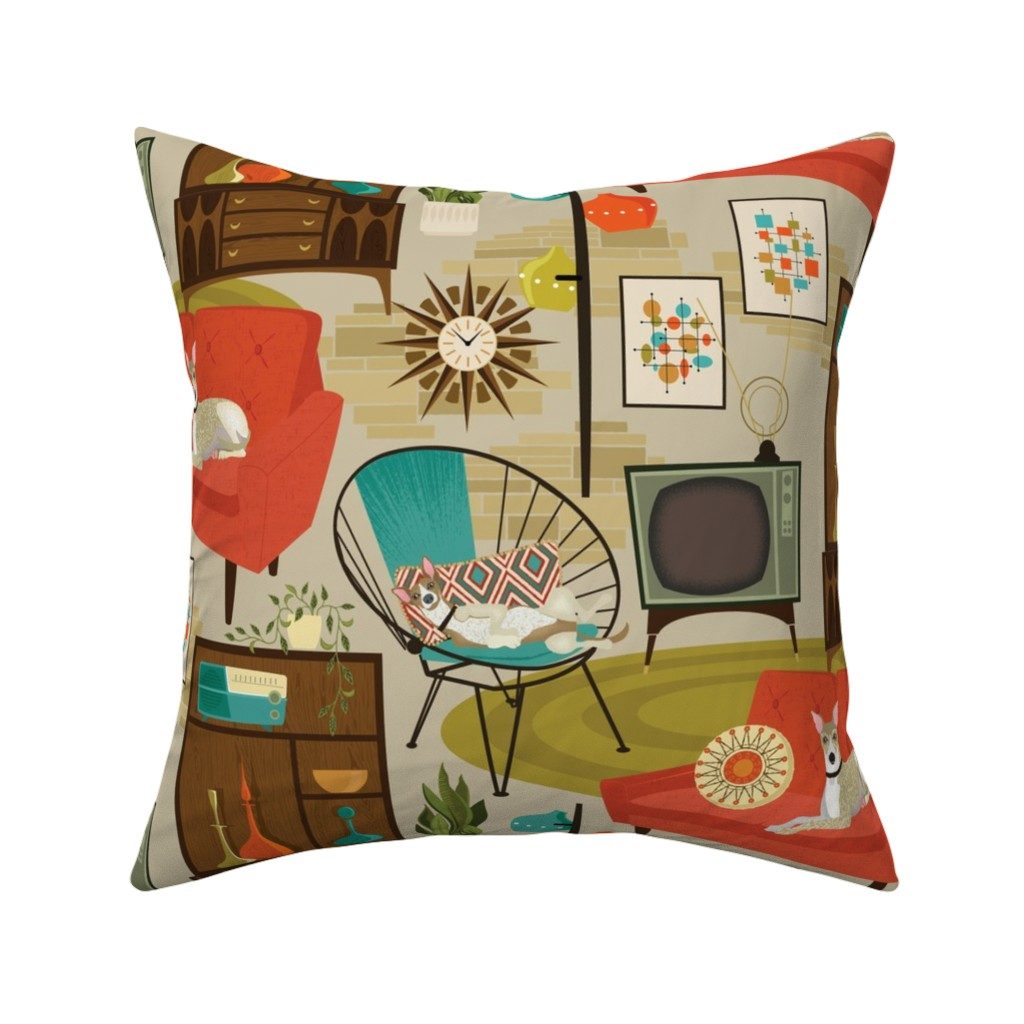 Catalan Throw Pillow featuring rec room madness by michaelzindell