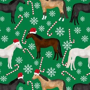 horses christmas fabric - holiday, xmas, christmas, candy cane,  peppermint stick, snowflake, christmas, winter -green