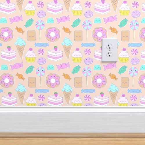 Wallpaper Kawaii Candy Party In Biscuit