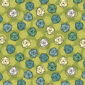 Tossed d20 in Green Naturals