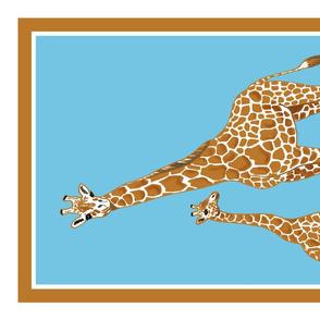 Giraffe tea towel blue