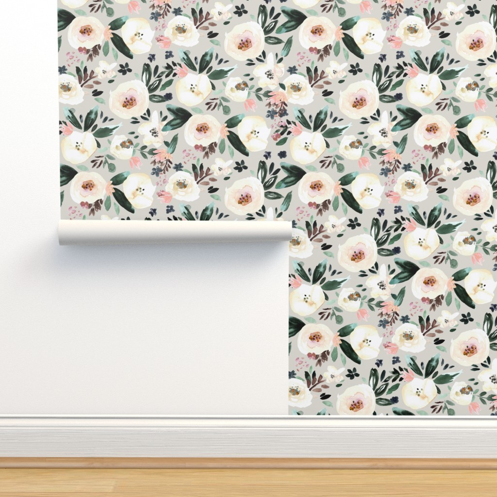 Isobar Durable Wallpaper featuring Florista-light gray by crystal_walen