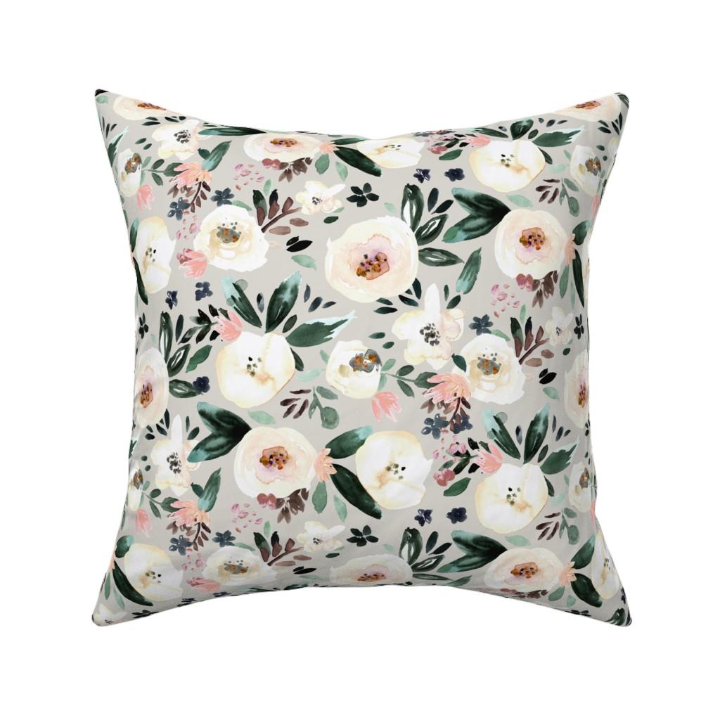 Catalan Throw Pillow featuring Florista-light gray by crystal_walen