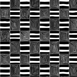 Black & White Squares & Stripes