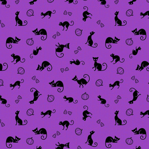 Black Cats On Purple