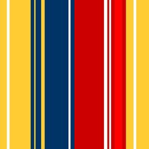 Abigail Anne: Vertical in Dark Blue Yellow White and Red