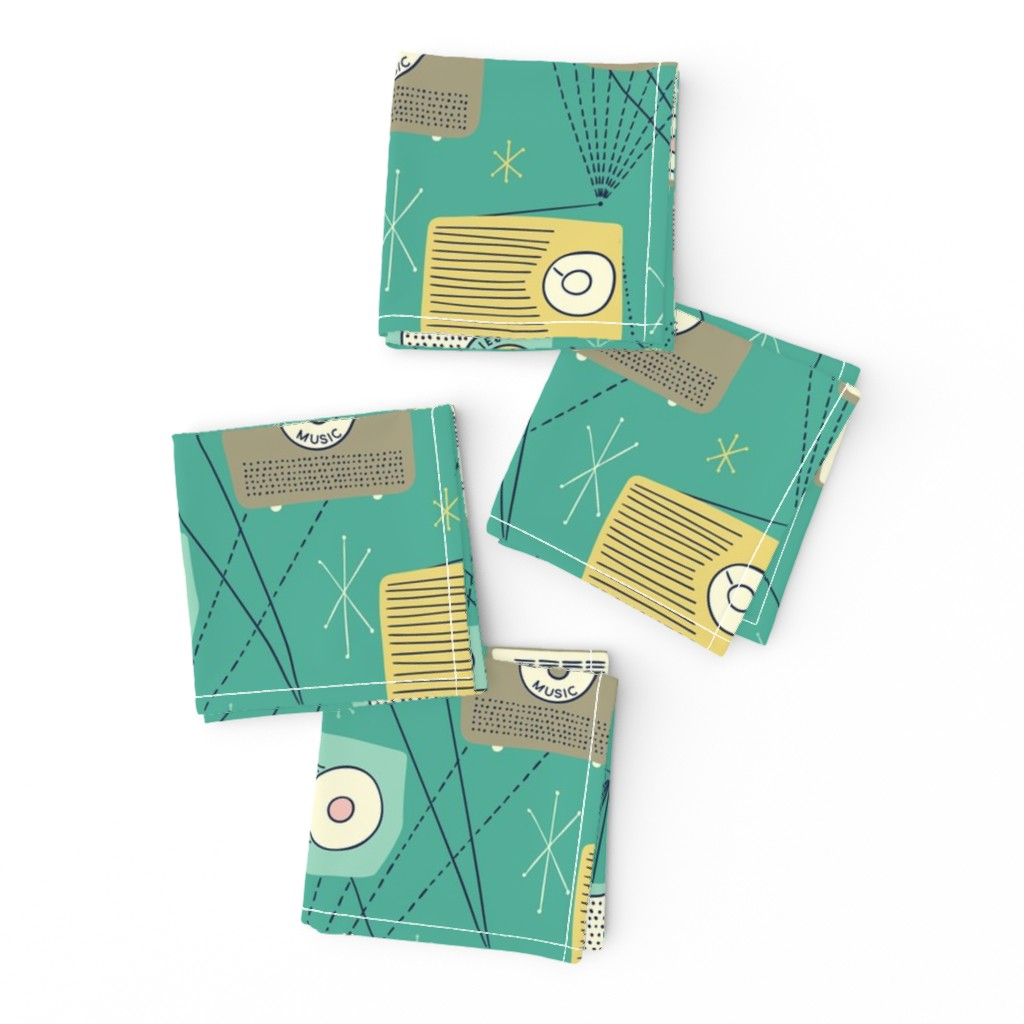 Frizzle Cocktail Napkins featuring Mid-century Transistor Radio and Atomic Stars by marketa_stengl