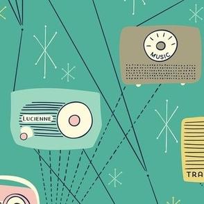 Mid-century Transistor Radio and Atomic Stars