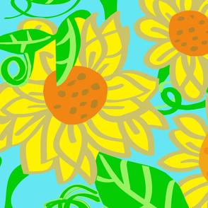 Humongous Sunflowers-on aqua