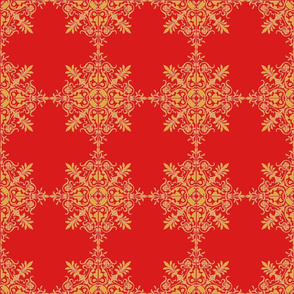 Red Brocade Snowflake
