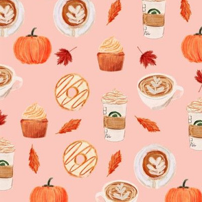watercolor psl - pumpkin spice latte, coffee, latte, pumpkin, fall, autumn fabric - pink