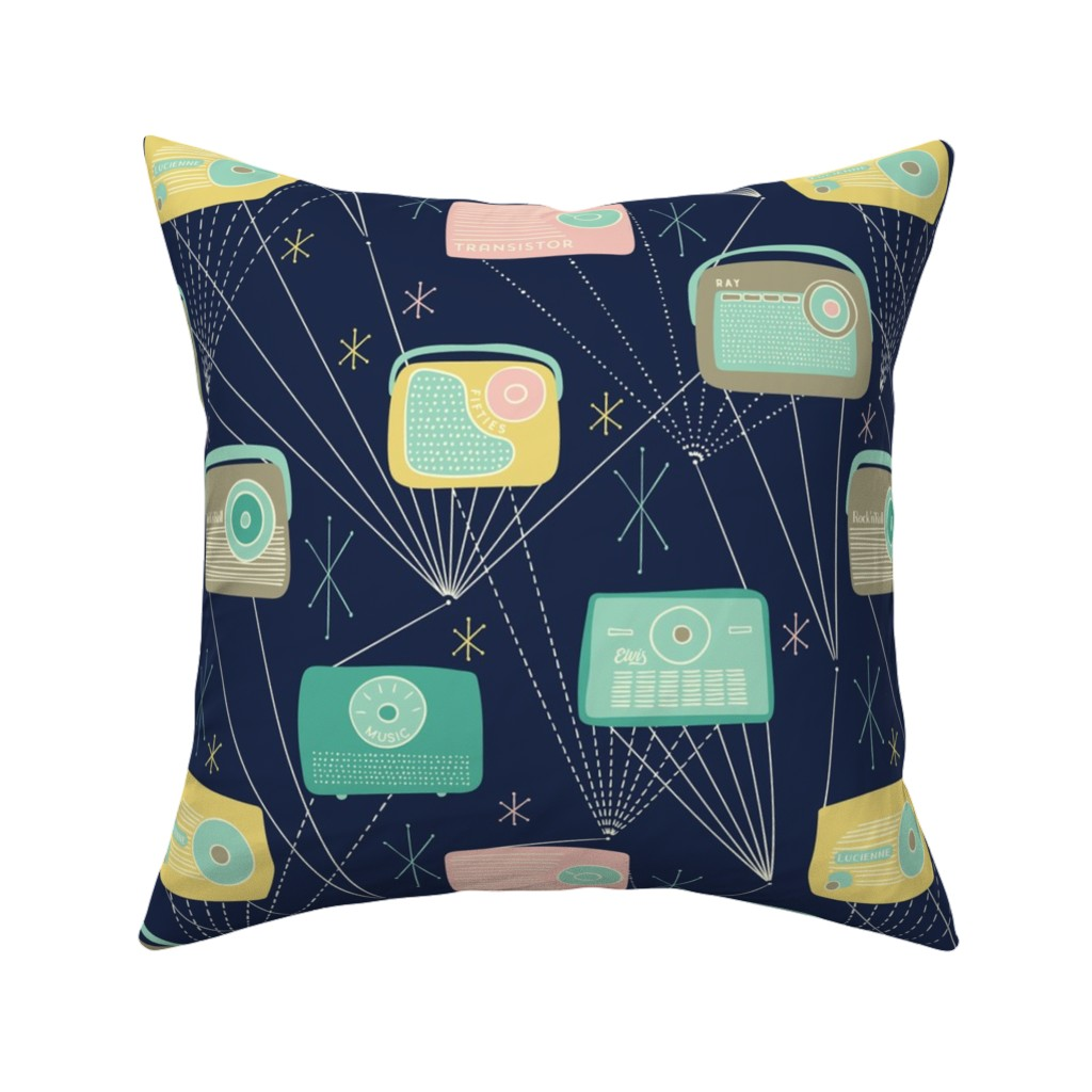 Catalan Throw Pillow featuring Mid-century Transistor Radio and Atomic Stars / Blue by marketa_stengl