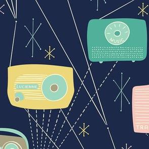 Mid-century Transistor Radio and Atomic Stars / Blue