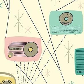 Mid-century Transistor Radio and Atomic Stars / Yellow