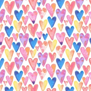 Watercolor Hearts - large