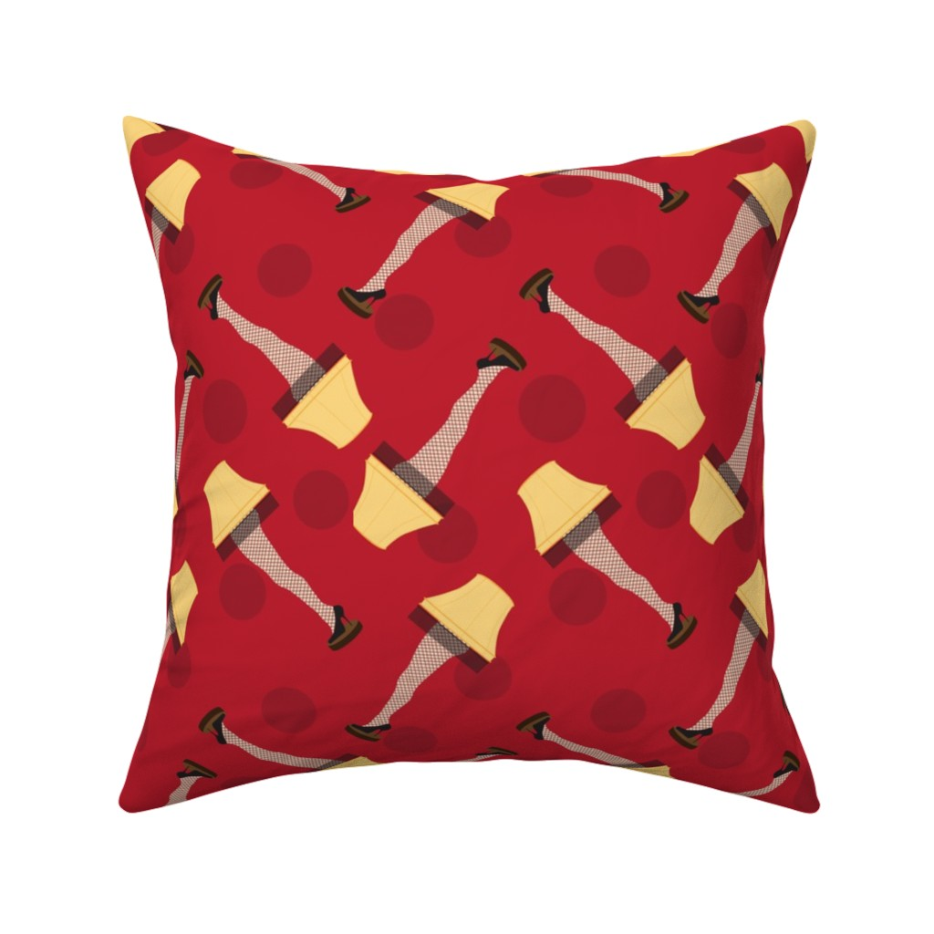 Catalan Throw Pillow featuring Leg Lamp Christmas Pattern Dots Red Retro by furbuddy