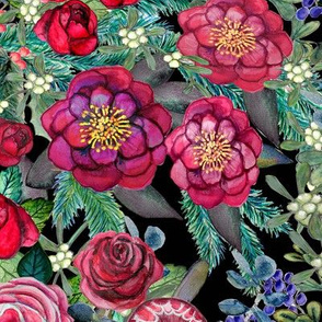 burgundy watercolor floral Holiday // Watercolor flowers //  Dark Floral // Fall, Winter,