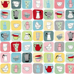 Retro Coffee Pots and Cups ~ Pastel