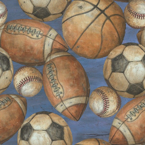 Be the Ball Sports - Baseball, Football, Soccer and Basketball on Blue