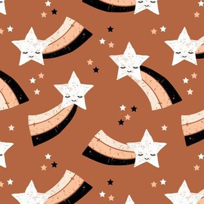 Shooting star and rainbow sky kawaii japanese style stars illustration kids gender neutral copper